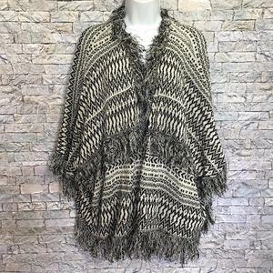 Millau Aztec Fringe Open Cardigan Boho Sweater S